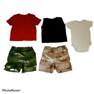 Lot of 5 Boys Shorts Shirts Camo 24M Kids Toddlers